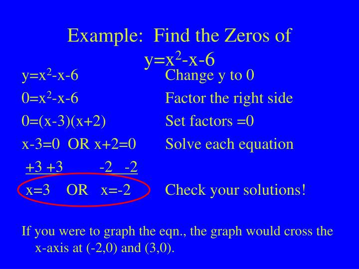 Example:  Find the Zeros of