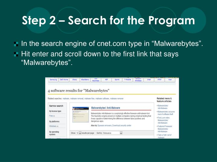Step 2 – Search for the Program
