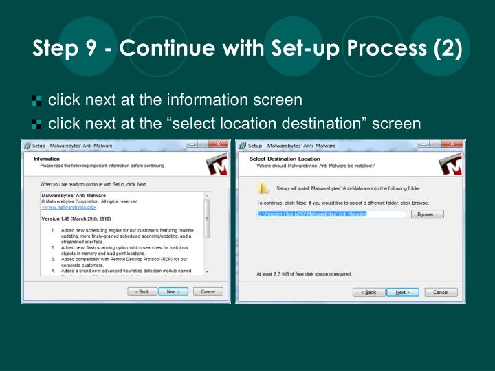Step 9 - Continue with Set-up Process (2)