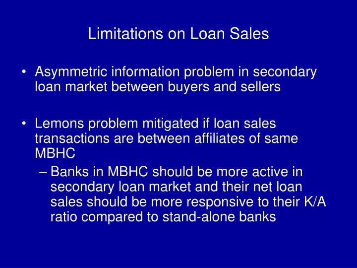 Limitations on Loan Sales