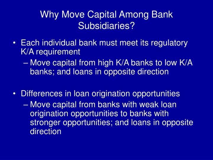 Why Move Capital Among Bank Subsidiaries?