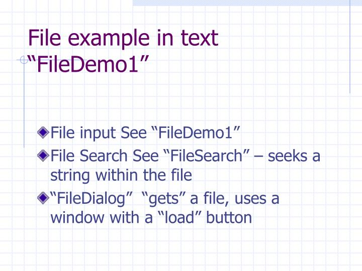 """File example in text """"FileDemo1"""""""