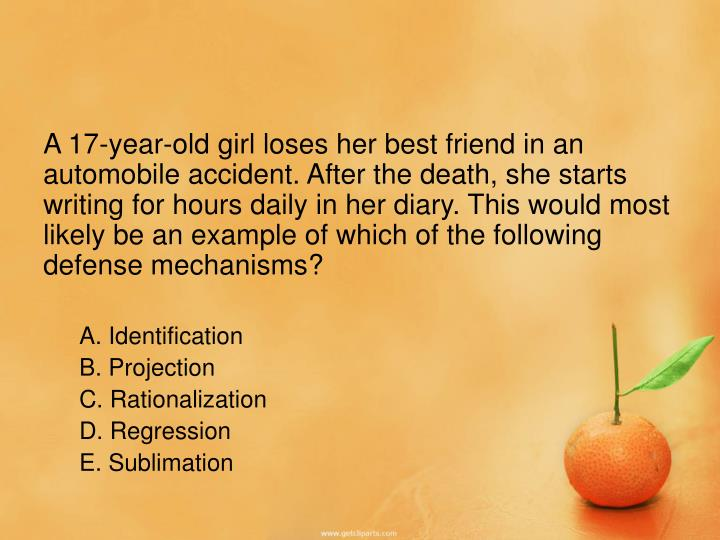 A 17-year-old girl loses her best friend in an automobile accident. After the death, she starts writing for hours daily in her diary. This would most likely be an example of which of the following defense mechanisms?