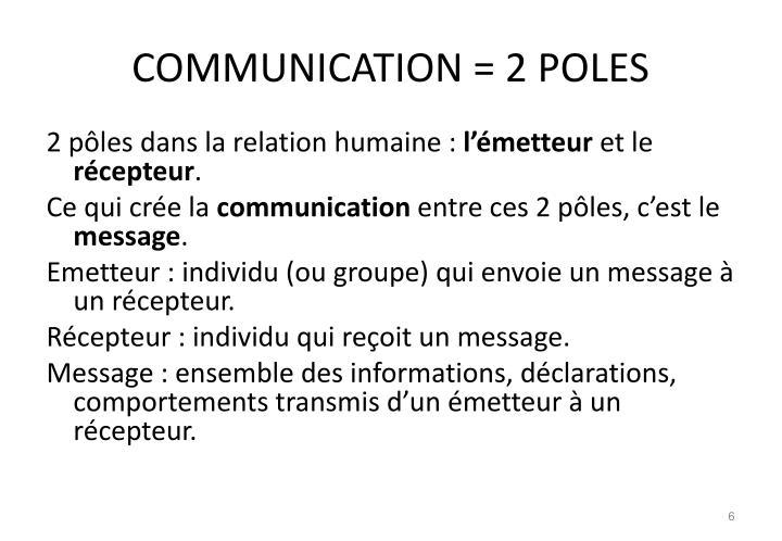 COMMUNICATION = 2 POLES