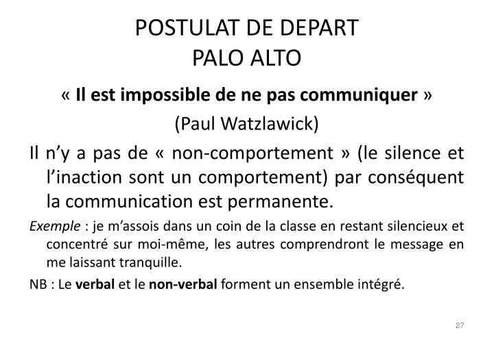 POSTULAT DE DEPART