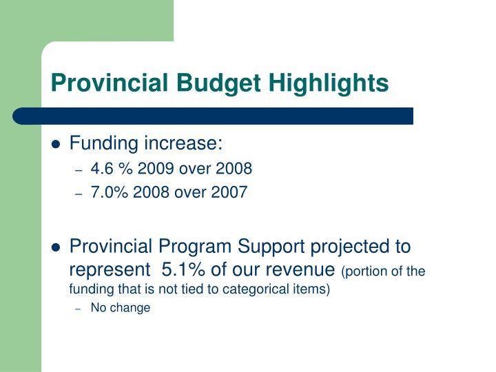 Provincial Budget Highlights