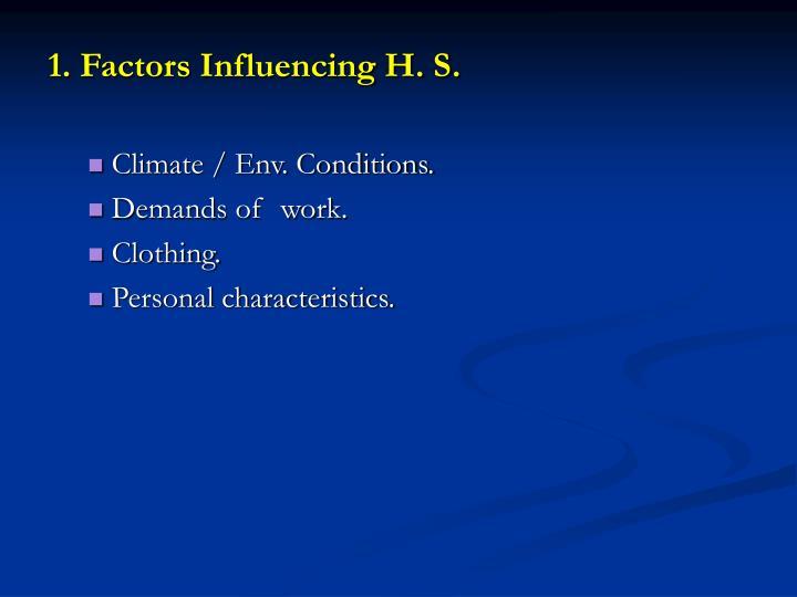 1. Factors Influencing H. S.