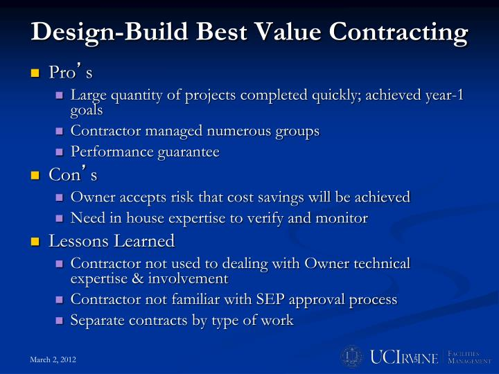 Design-Build Best Value Contracting