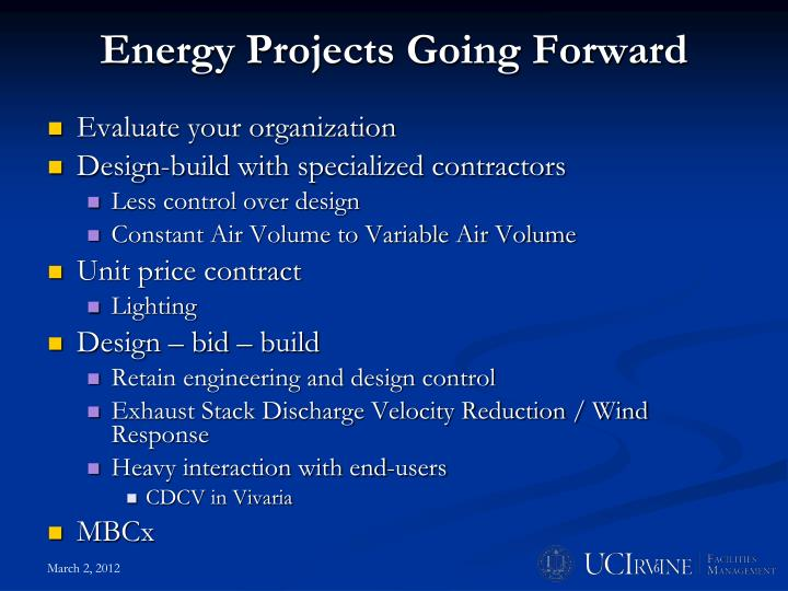 Energy Projects Going Forward