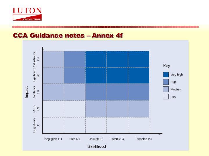 CCA Guidance notes – Annex 4f