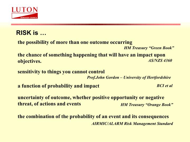 the chance of something happening that will have an impact upon objectives.