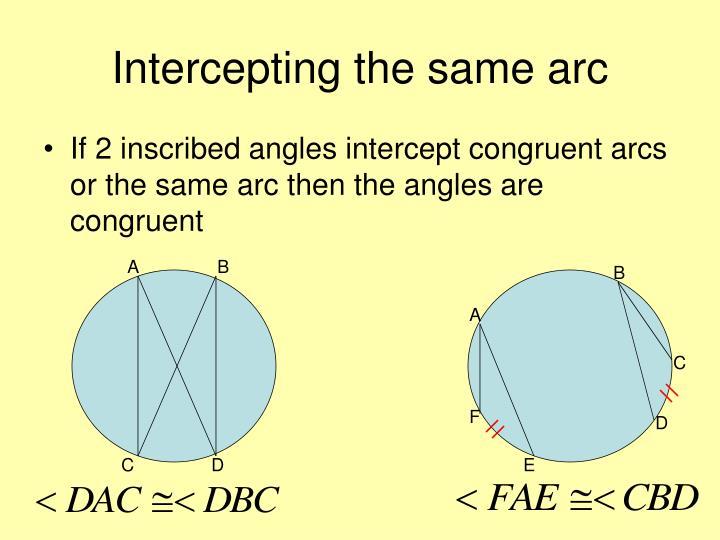 Intercepting the same arc
