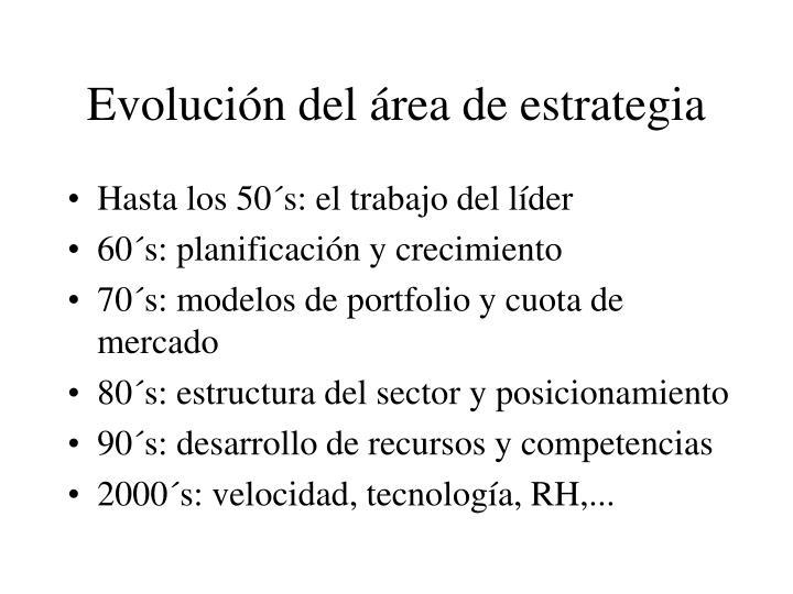 Evolución del área de estrategia