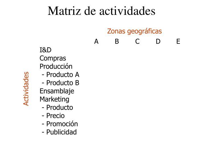 Matriz de actividades