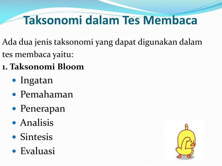 Taksonomi dalam Tes Membaca