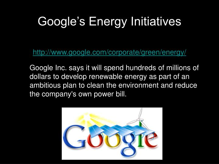Google's Energy Initiatives