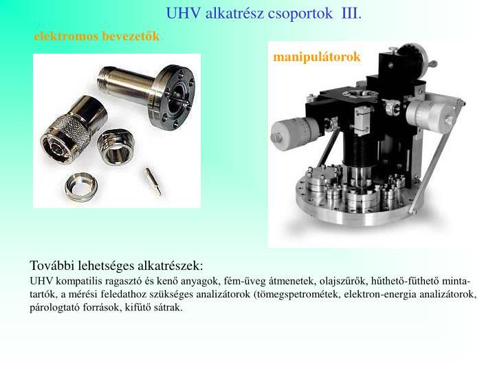 UHV alkatrész csoportok  III.