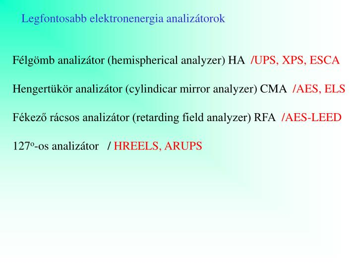 Legfontosabb elektronenergia analizátorok