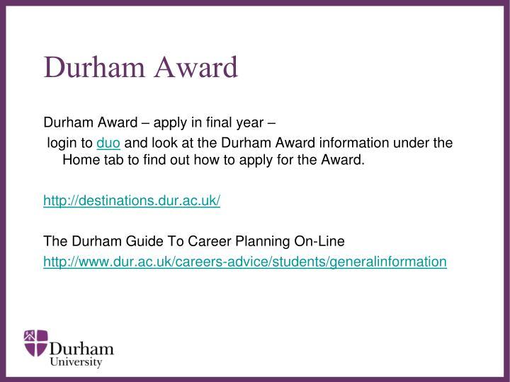 Durham Award
