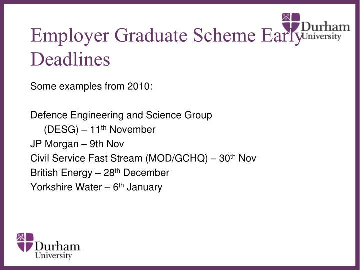 Employer Graduate Scheme Early Deadlines