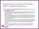 recognising and articulating transferable skills completing applications