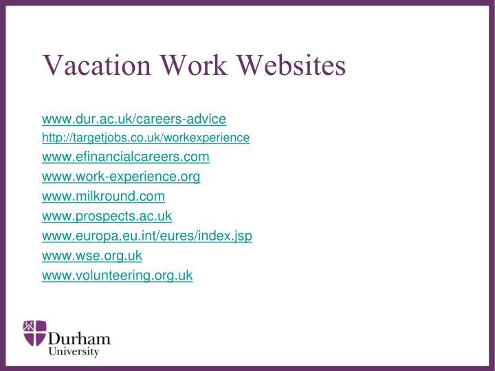 Vacation Work Websites