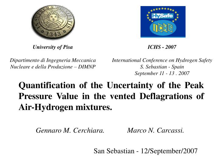Quantification of the Uncertainty of the Peak Pressure Value in the vented Deflagrations of Air-Hydrogen mixtures.
