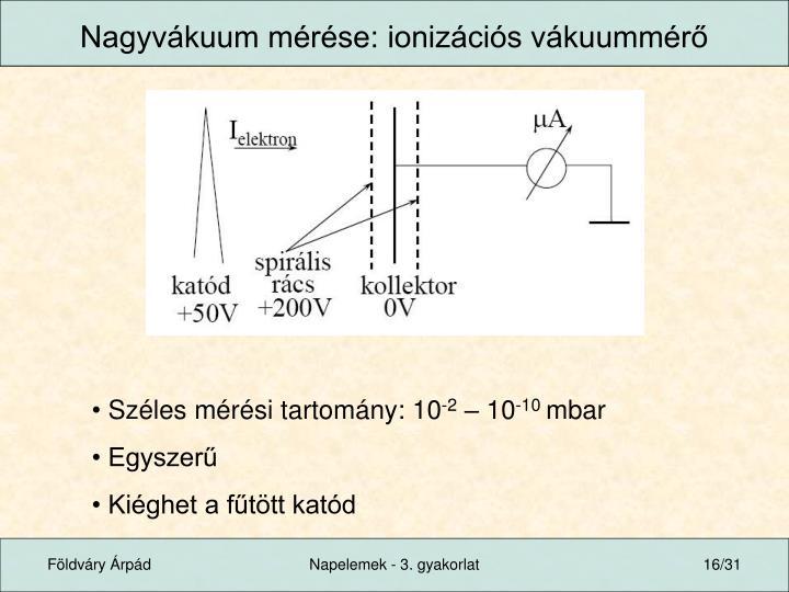 Nagyvákuum mérése: ionizációs vákuummérő