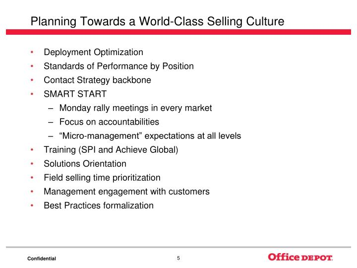 Planning Towards a World-Class Selling Culture