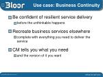 use case business continuity