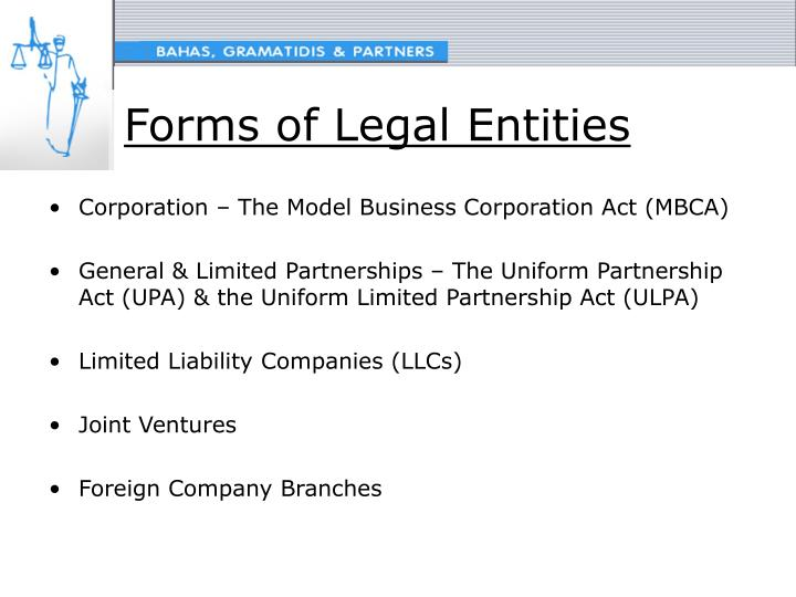 Forms of Legal Entities