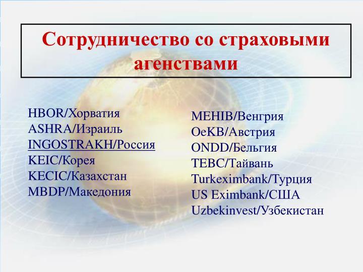 Сотрудничество со страховыми агенствами