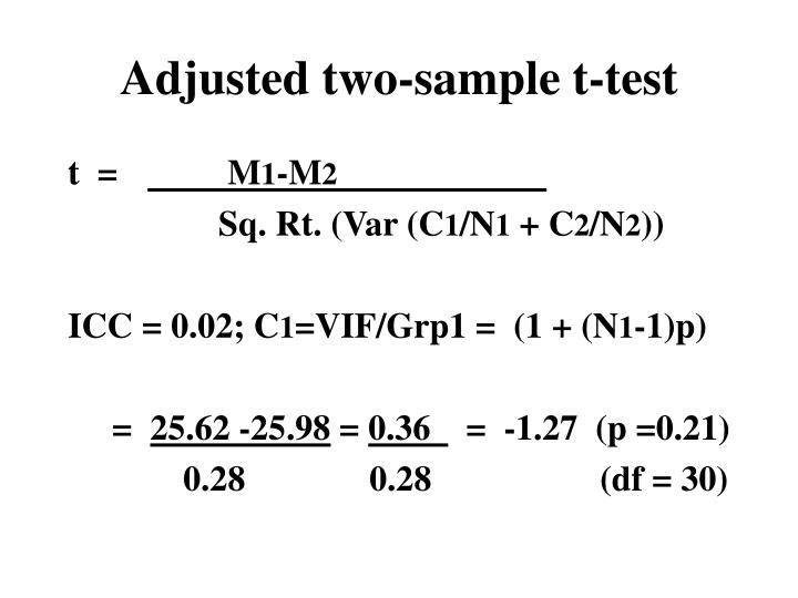 Adjusted two-sample t-test