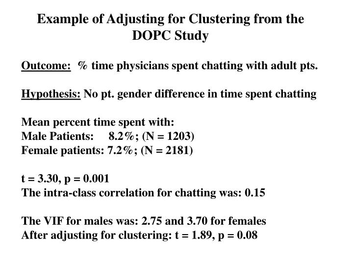 Example of Adjusting for Clustering from the