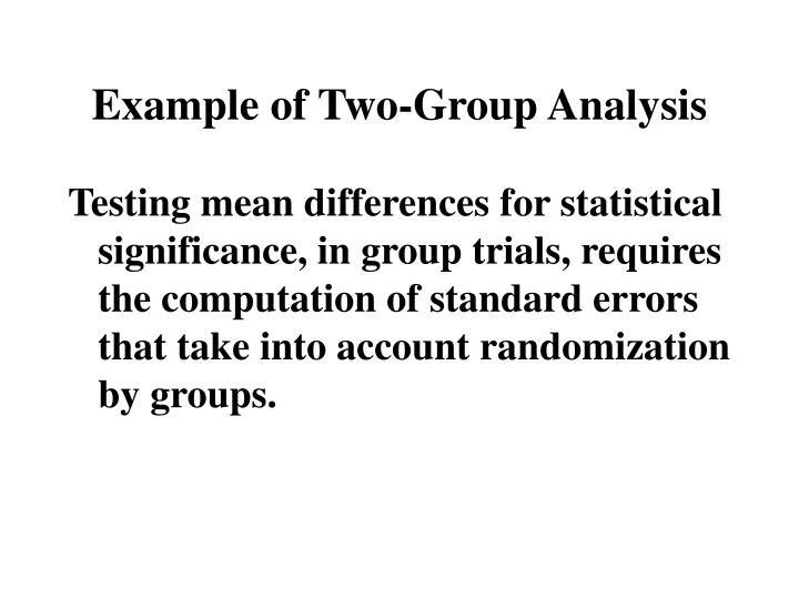 Example of Two-Group Analysis