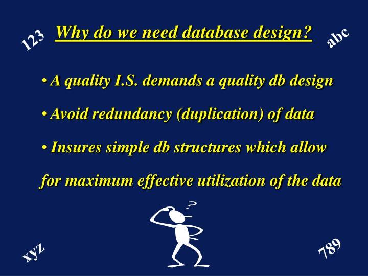 Why do we need database design?