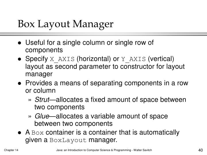 Box Layout Manager