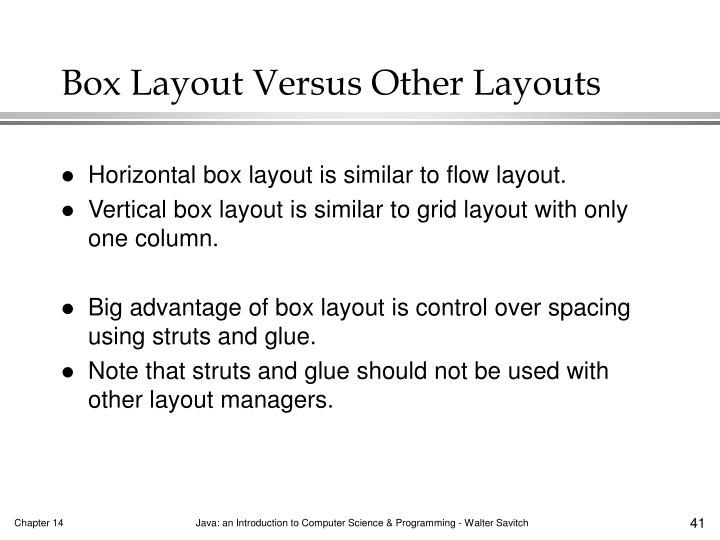 Box Layout Versus Other Layouts