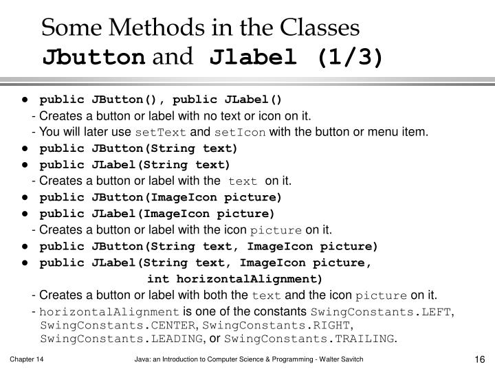 Some Methods in the Classes