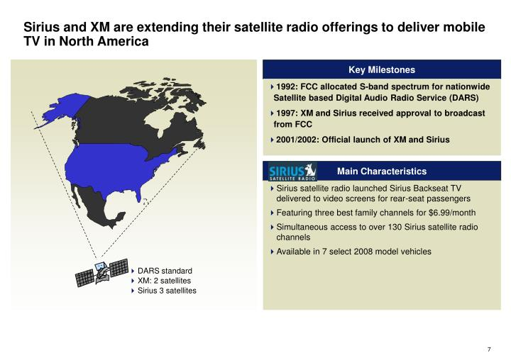 Sirius and XM are extending their satellite radio offerings to deliver mobile TV in North America