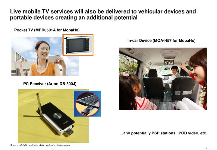 Live mobile TV services will also be delivered to vehicular devices and portable devices creating an additional potential