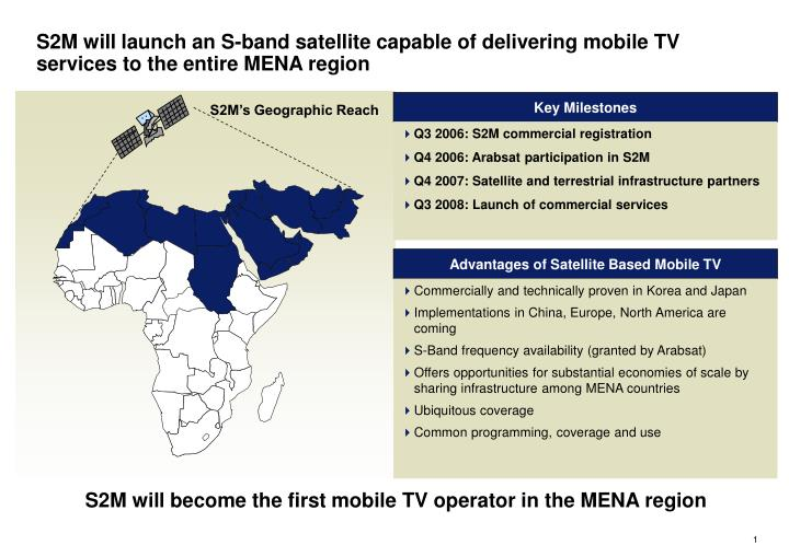S2M will launch an S-band satellite capable of delivering mobile TV services to the entire MENA region