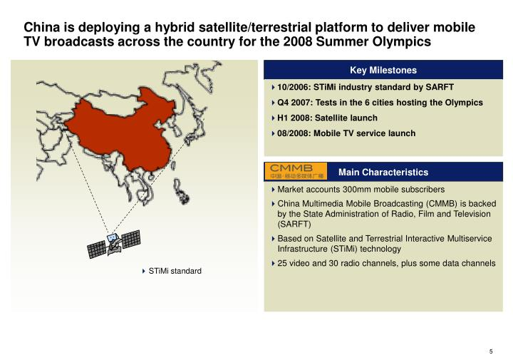 China is deploying a hybrid satellite/terrestrial platform to deliver mobile TV broadcasts across the country for the 2008 Summer Olympics