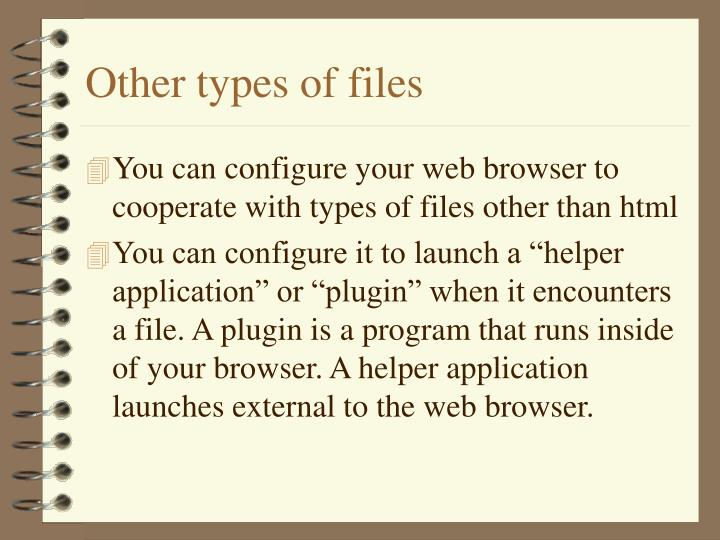 Other types of files