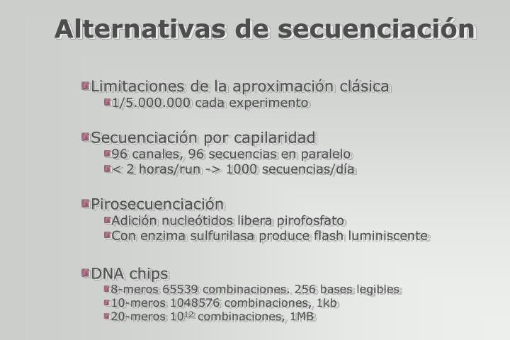 Alternativas de secuenciación