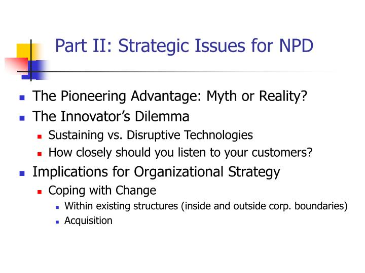 Part ii strategic issues for npd