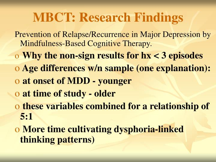 MBCT: Research Findings