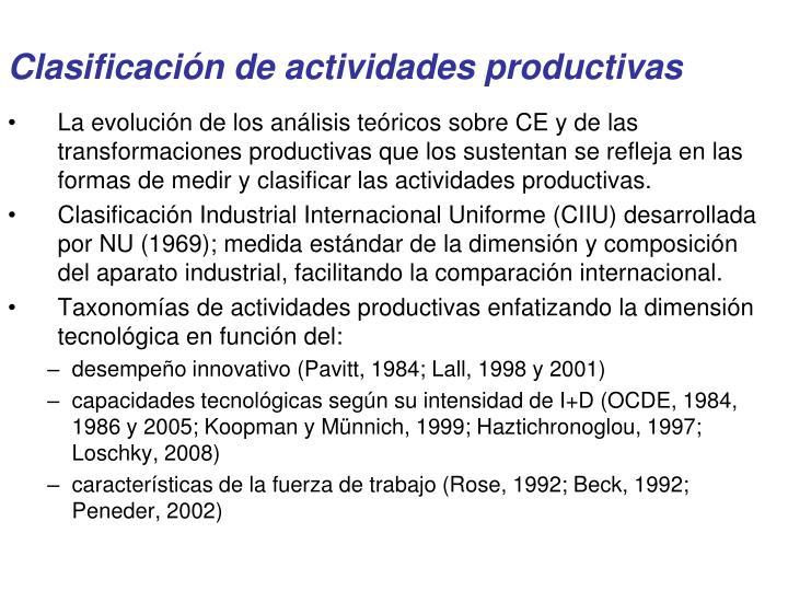 Clasificación de actividades productivas