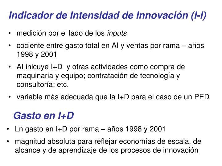 Indicador de Intensidad de Innovación (I-I)
