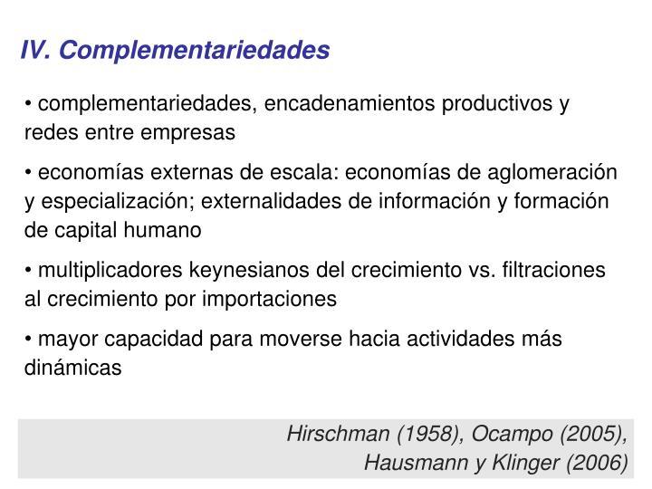 IV. Complementariedades